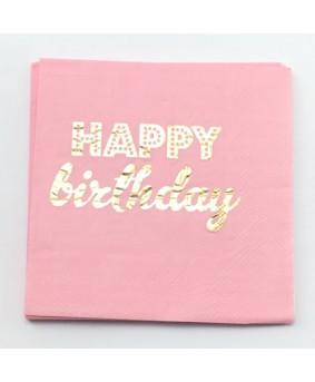 מפיות קוקטייל ורודות Happy Birthday