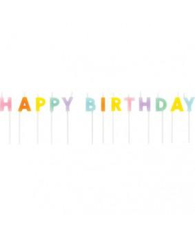 נרות בצבעי פסטל Happy Birthday