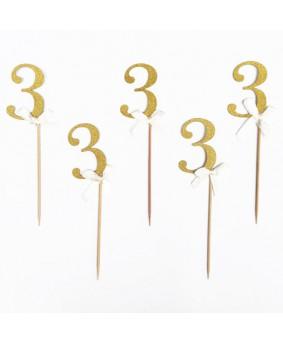 מספר 3 על קיסם- זהב