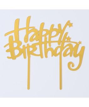 קייק טופר happy birthday זהב