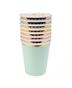 כוסות גווני פסטל הטבעת זהב- meri meri