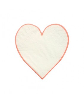 מפיות לב לבן מסגרת קורל- meri meri