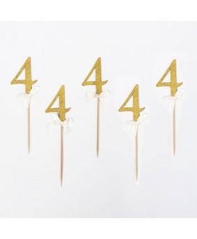 מספר 4 על קיסם- זהב