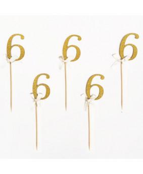 מספר 6 על קיסם- זהב