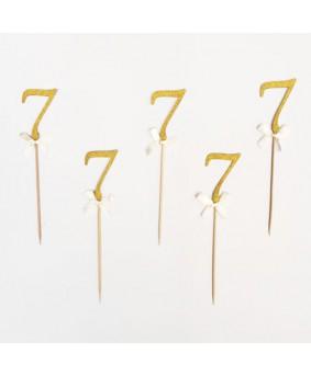 מספר 7 על קיסם- זהב