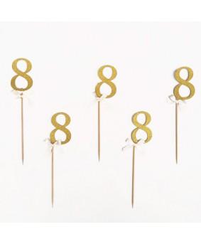 מספר 8 על קיסם- זהב