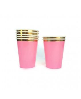 כוסות ורודות פס זהב