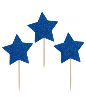 כוכב כחול נוצץ על קיסם