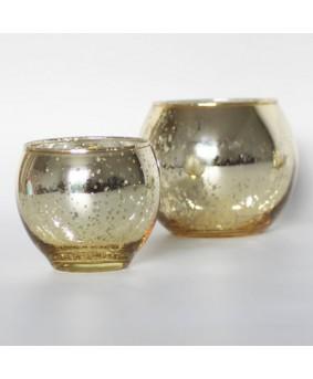 עששית זכוכית זהב עגולה- גדול