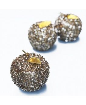 שלישיית תפוחים גדולים נוצצים לקישוט- זהב