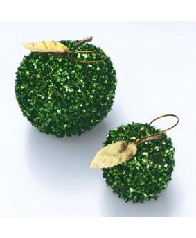 שלישיית תפוחים גדולים נוצצים לקישוט- ירוק