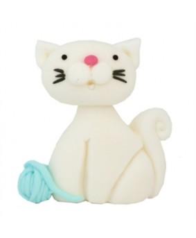 קישוט בצק סוכר - חתול לבן
