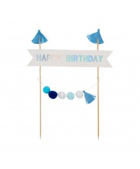 קייק טופר happy birthday פונפונים- כחול