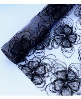 ראנר אורגנזה פרחוני שחור