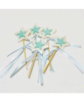 קישוט בצק סוכר - כוכב על מקל כחול