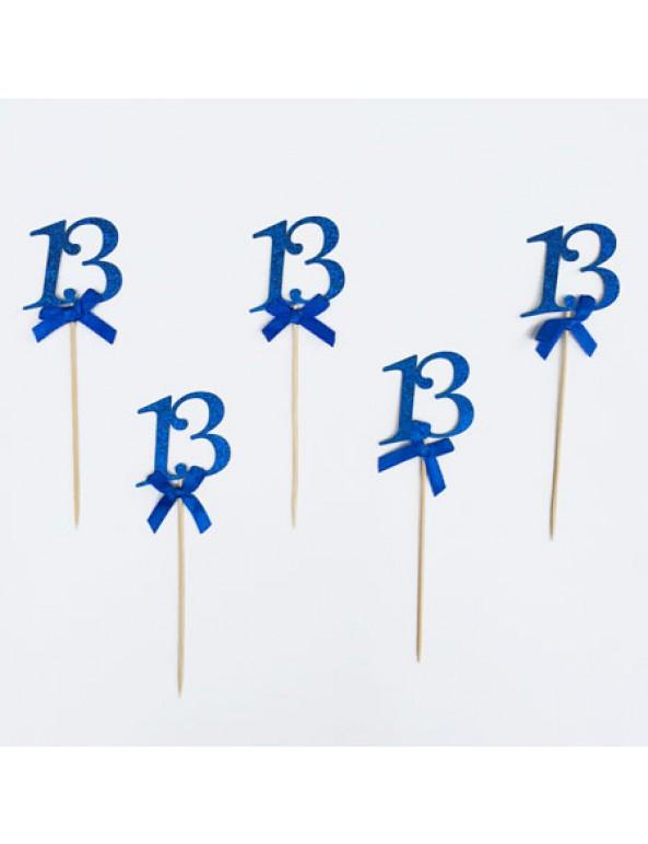 קישוט לבר מצווה כחול על קיסם