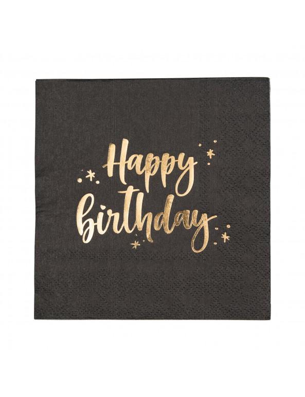מפיות קוקטייל שחורות Happy Birthday, מפיות, מפית, מפיות קוקטייל, מפית קוקטייל, קוקטייל, מפיות ים הולדת, Happy birthday, עיצוב שולחן יום הולדת, סידור שולחן, עיצוב שולחן, סידור שולין, מפית שחורה, מפיות שחורות