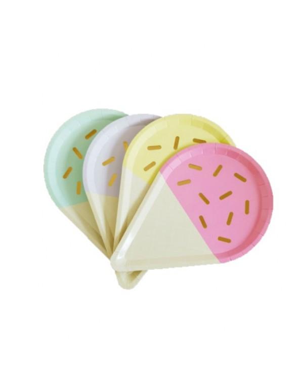 צלחות גלידה בצבעי פסטל