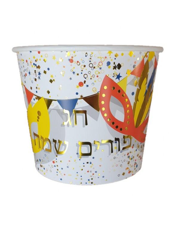 דלי נייר פורים שמח, צלחות פורים שמח, פורים, משתה פורים, מסיבת פורים, חג שמח, צלחות פורים, צלחות נייר, משלוח מנות