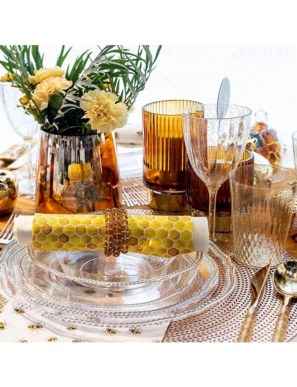 10 צלחות פלסטיק גדולות שקופות פס זהב