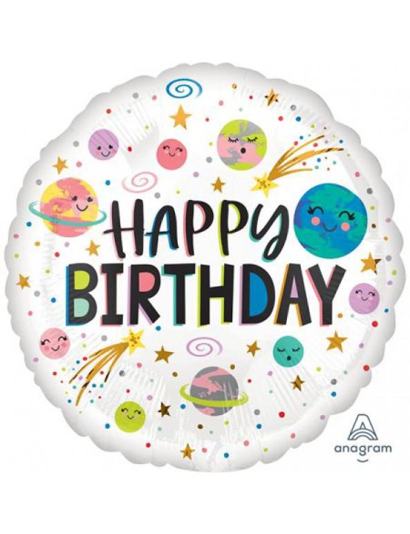 בלון כוכבי לכת Happy Birthday