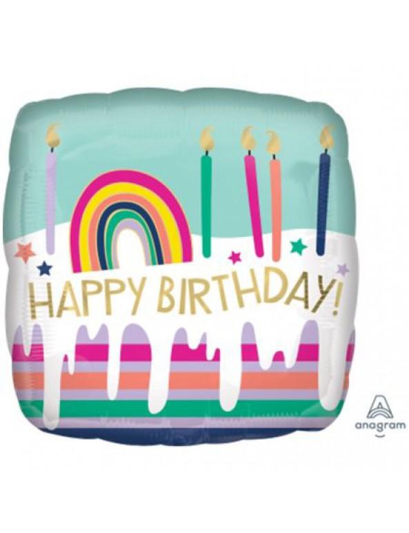 בלון צבעי פסטל Happy Birthday