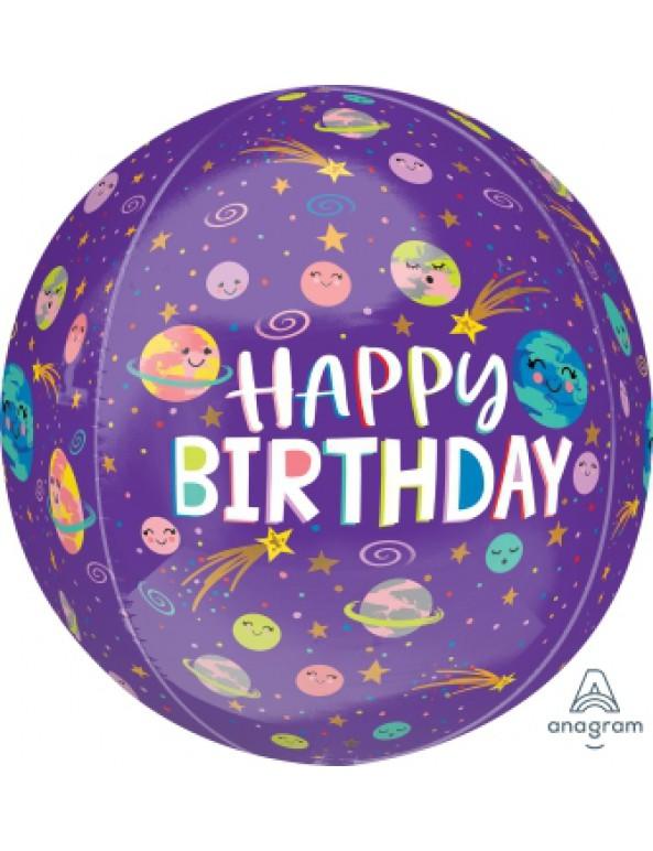 בלון הליום Happy Birthday כדור חלל סגול
