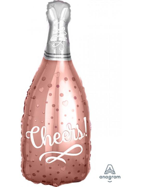 בלון הליום בצורת בקבוק רוז גולד cheers