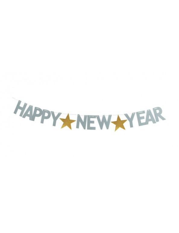 סילבסטר, מסיבת סילבסטר, אביזרים למסיבת סילבסטר, 2020, שרשרת, שרשרת אותיות כסף בכיתוב Happy New Year.