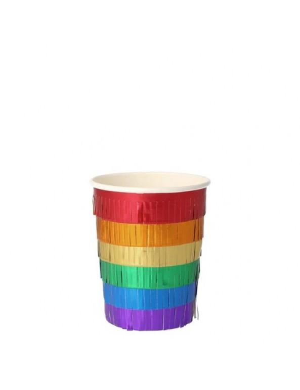 כוסות עם פרנזים בצבעי הקשת - Meri Meri