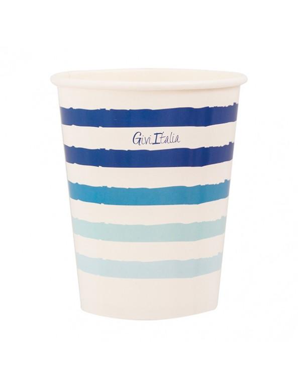 כוסות נייר מעוטרות פסים כחולים