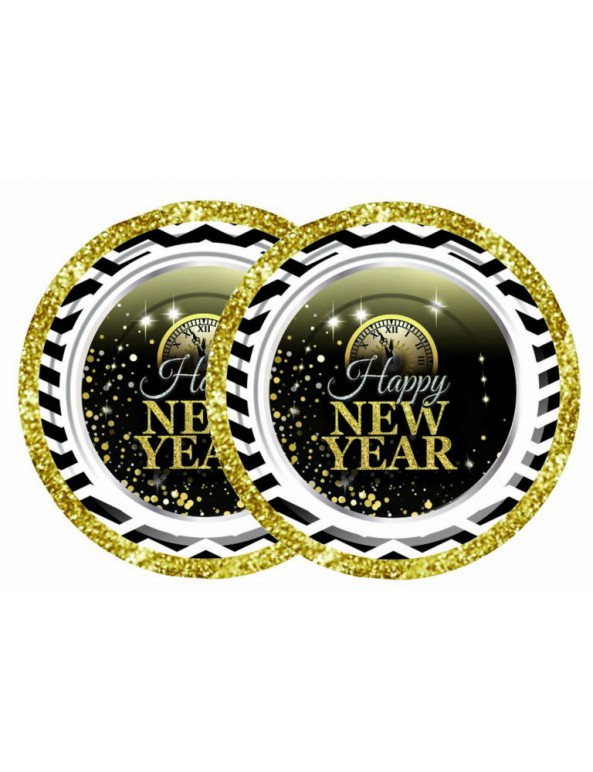צלחות נייר קטנות Happy New Year.