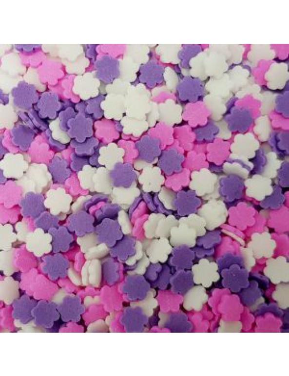 סוכריות לעוגה פרחים ורוד סגול לבן