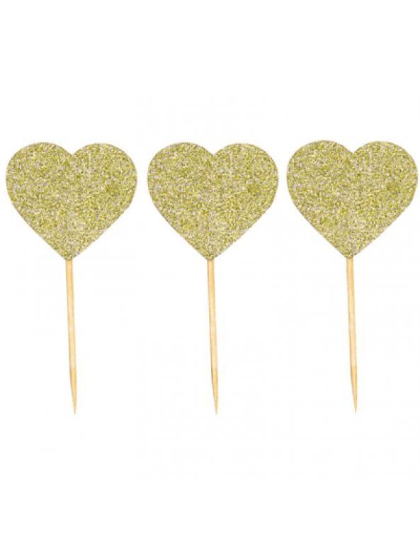 קישוט שולחן, קישוט קאפקייק, קיסם, לב, לב זהב, לב זהב נוצץ,