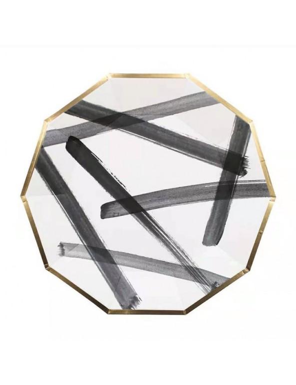 צלחות נייר מתומן גדולות- שחור לבן