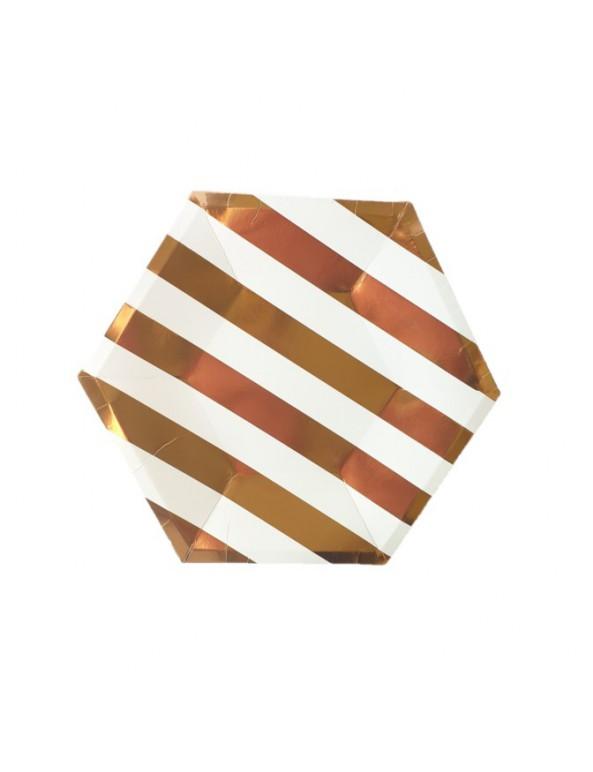 צלחות נייר מתומן קטנות- פסים רוז גולד ולבן