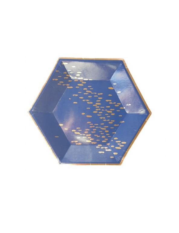 צלחות נייר מתומן קטנות- כחול עם הטבעות רוז גולד