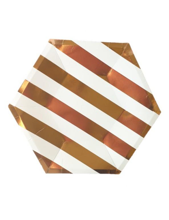 צלחות נייר מתומן גדולות- פסים רוז גולד ולבן