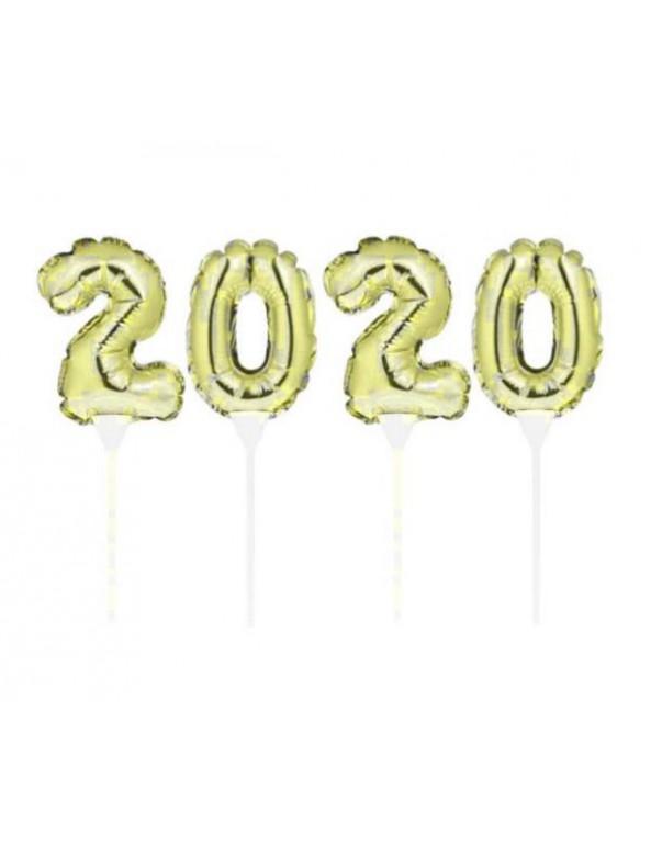 סילבסטר, מסיבת סילבסטר, אביזרים למסיבת סילבסטר, 2020, שרשרת, בלונים על מקל 2020 זהב