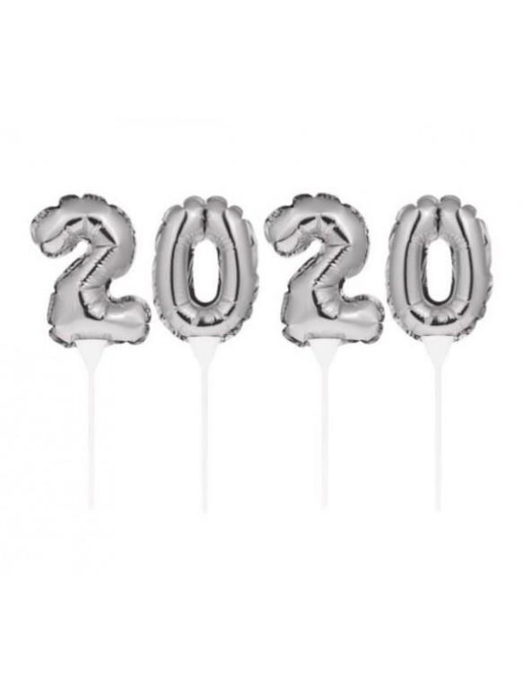 סילבסטר, מסיבת סילבסטר, אביזרים למסיבת סילבסטר, 2020, שרשרת, בלונים על מקל 2020 כסף