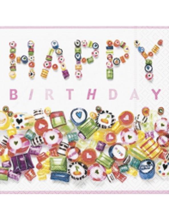 מפיות Happy Birthday ממתקים