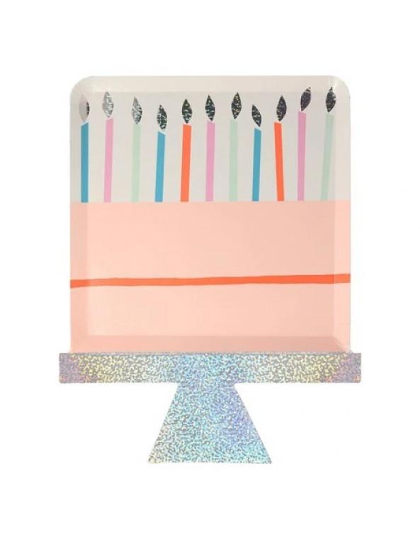 צלחות נייר בצורת עוגה - Meri Meri