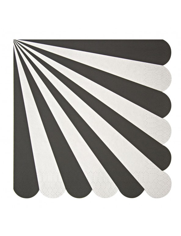 מפיות גדולות שחור לבן - Meri Meri ,Meri Meri, צלחות, שחור כסף לבן, שחור לבן, סידור שולחן, עיצוב שולחן, מפיות, מפית, מפית שחור לבן, מפיות שחור לבן