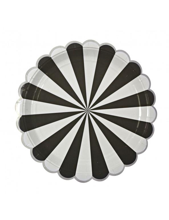 צלחות נייר גדולות שחור לבן - Meri Meri, Meri Meri, צלחות, שחור כסף לבן, שחור לבן, צלחות נייר, צלחת שחור לבן, צלחות שחור לבן, סידור שולחן, עיצוב שולחן