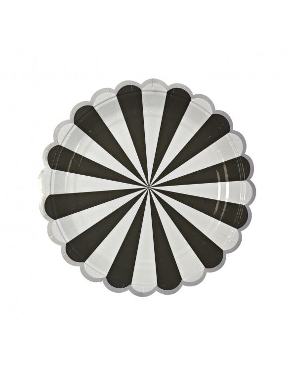 צלחות נייר קטנות שחור לבן - Meri Meri, Meri Meri, צלחות, שחור כסף לבן, שחור לבן, צלחות נייר, צלחת שחור לבן, צלחות שחור לבן, סידור שולחן, עיצוב שולחן