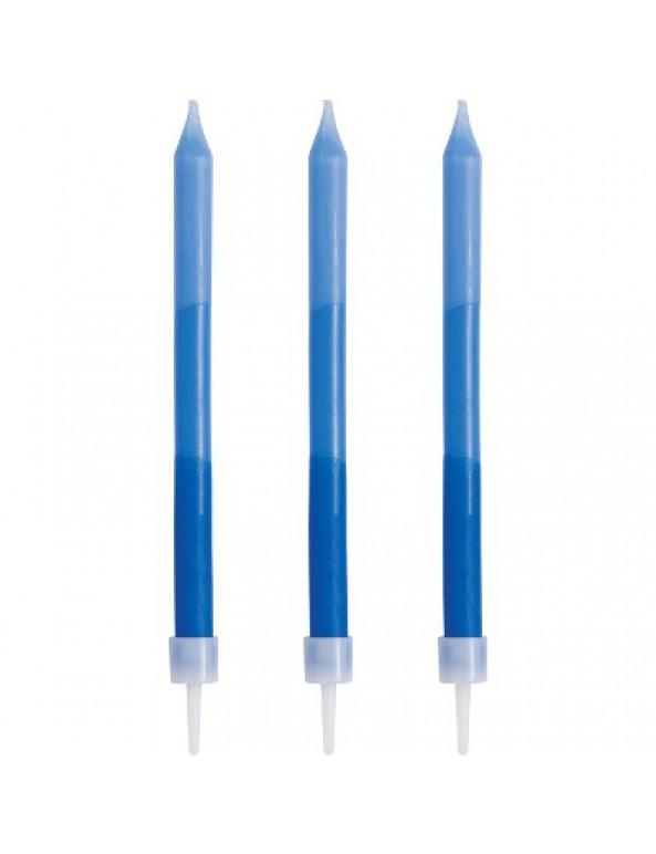 12 נרות בגווני כחול עם נקודות, נרות יום הולדת, נר, נרות, כחול, נר יום הולדת, נרות כחולים, נרות יום הולדת, נרות אומברה בגווני כחול, אומברה, נרות אומברה, אומברה