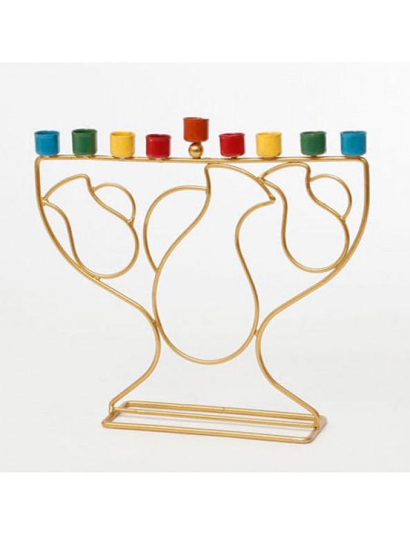 ראנר לחנוכה, עיצוב שולחן לחג חנוכה, אביזרים לחג חנוכה, חג חנוכה, חנוכה, חנוכיה, חנוכייה, בית חנוכה, שולחן חנוכה, סידור שולחן חג, חנוכיה בעיצוב כדים עם בתי נרות צבעוניים