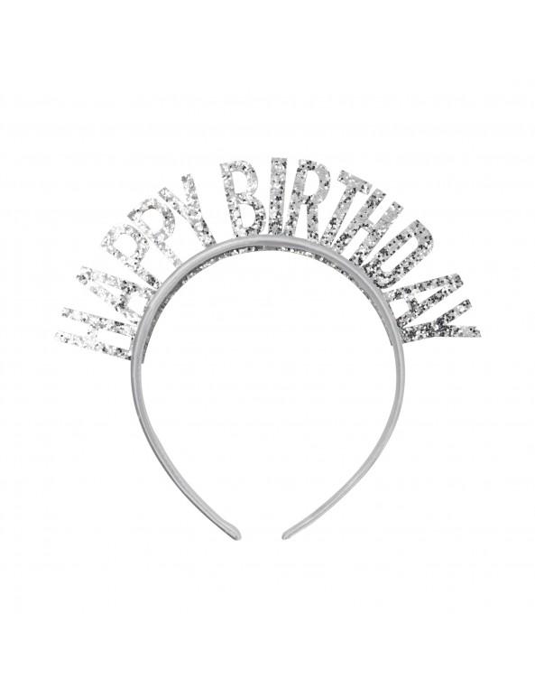 ,כסף נוצץ, קשת, כתר, כתר יום הולדת, קשת Happy Birthday כסף נוצץ, יום הולדת, Happy Birthday, אביזרים ליום הולדת, אביזרים למסיבת יום הולדת