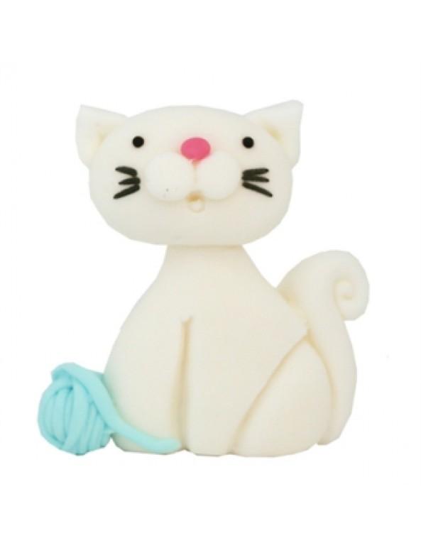 קישוט בצק סוכר - חתול אפור, בצק, בצק סוכר, קישוט בצק סוכר, קישוטים לעוגה, עוגה, עוגת יום הולדת