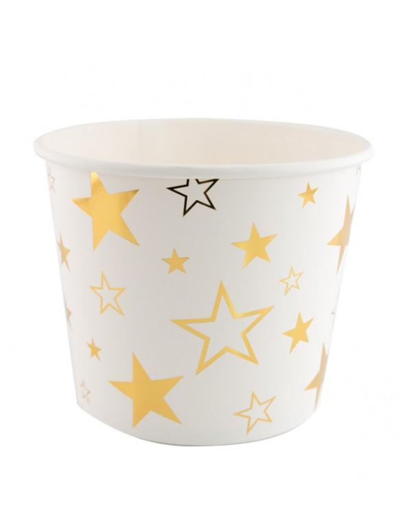 קופסה לפופקורן, קופסאות לפופקורן, משלוח מנות, פורים, דלי מנייר לבן עם כוכבים בזהב